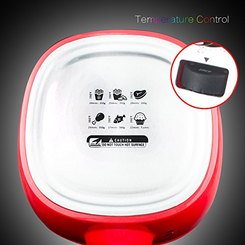 1400W-Air-fryer-Healthy-Smokeless-Low-Fat-Non-stick-Multi-Cooker-Oilless-Cooker-4L-38QT-Capacity-with-Timer-and-Temperature-Control-and-Detachable-Basket-Handles-Red-0-2