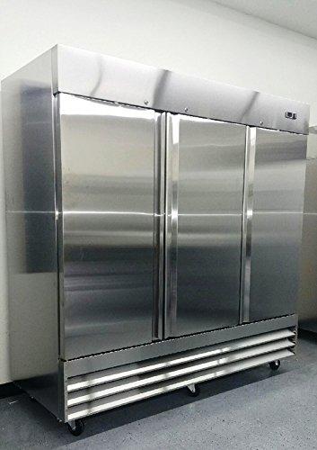 81 Upright Stainless Steel 3 Door Commercial Freezer 72