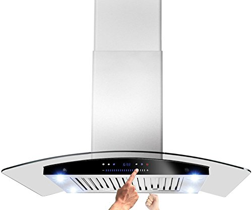 AKDY-New-30-European-Style-Island-Mount-Stainless-Steel-Range-Hood-Vent-Swiping-Sensor-Control-WBoth-Side-Accessible-Control-AZ-H601C-75-0