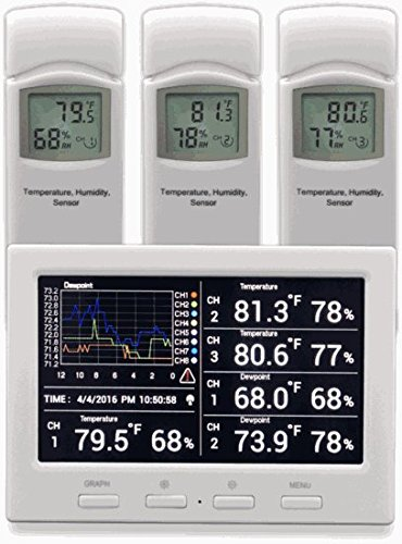 Ambient-Weather-WS-3000-X5-Wireless-Thermo-Hygrometer-with-Logging-Graphing-Alarming-Radio-Controlled-Clock-with-5-Remote-Sensors-White-0
