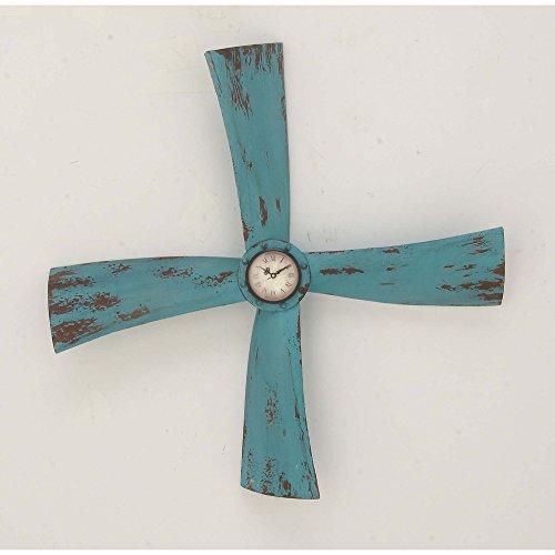 Benzara-Metal-Wall-Clocks-Bm119283-Benzara-Tarnished-Prop-Wall-Clock-Turquoise-26-X-26-X-4-Inches-Black-0