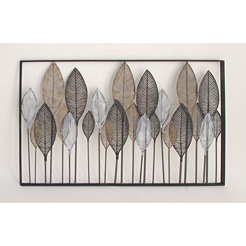 Benzara-Modish-Multicolor-Metal-Leaf-Wall-Decor-0