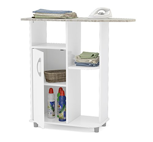 Boahaus-Ironing-Cart-White-4-casters-wheels-1-closed-compartment-0