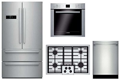 Bosch-4-Piece-Stainless-Steel-Kitchen-Package-With-B21CL80SNS-36-French-Door-Refrigerator-NGM5055UC-30-Gas-Cooktop-HBE5451UC-24-Single-Wall-Oven-and-SHXN8U55UC-24-Built-In-Dishwasher-0