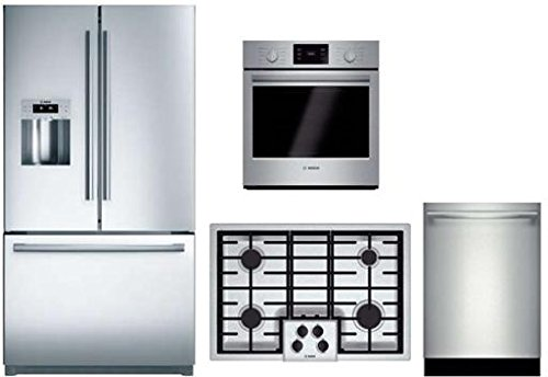 Bosch-4-Piece-Stainless-Steel-Kitchen-Package-With-B26FT80SNS-36-French-Door-Refrigerator-NGM5055UC-30-Gas-Cooktop-HBN5451UC-27-Single-Wall-Oven-and-SHXN8U55UC-24-Built-In-Dishwasher-0