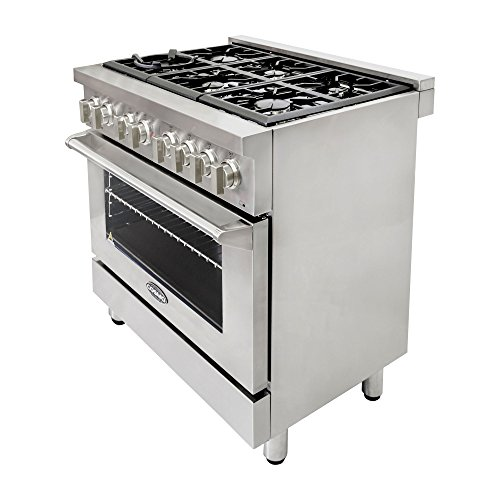 Cosmo-COS-Freestanding-Professional-Style-Dual-Fuel-Range-with-39-cu-ft-Electric-Convection-Oven-Italian-Made-Burners-Cast-Iron-Grates-in-Stainless-Steel-0-1