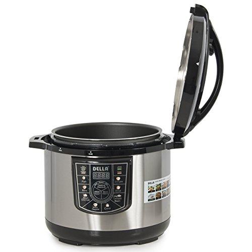 DELLA-048-GM-48237-10-quart-1400W-8-in-1-Programmable-Electric-Pressure-Cooker-Silver-Small-0-0