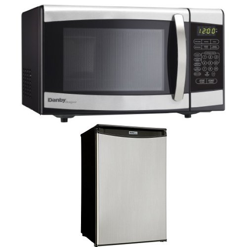 Danby-07-cuft-Countertop-Microwave-Stainless-Steel-and-Danby-Compact-44-cu-ft-Refrigerator-Spotless-Steel-Door-0