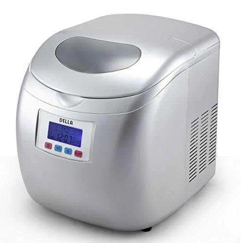 Della-Deluxe-Ice-Maker-LCD-Display-Portable-3-Cube-Sizes-Color-WhiteSilver-0-1