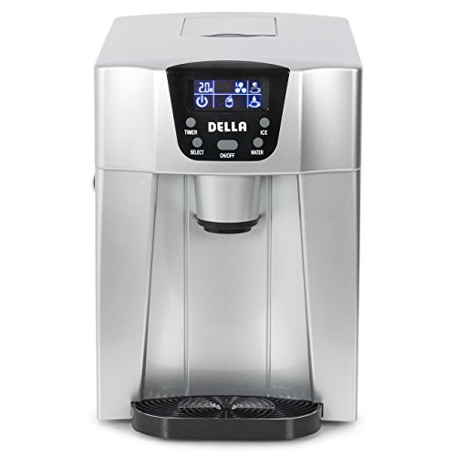 Della-Freestanding-Water-Dispenser-with-Built-In-Ice-Maker-Machine-26lbs-per-day-2-Size-Cube-White-Silver-0-0