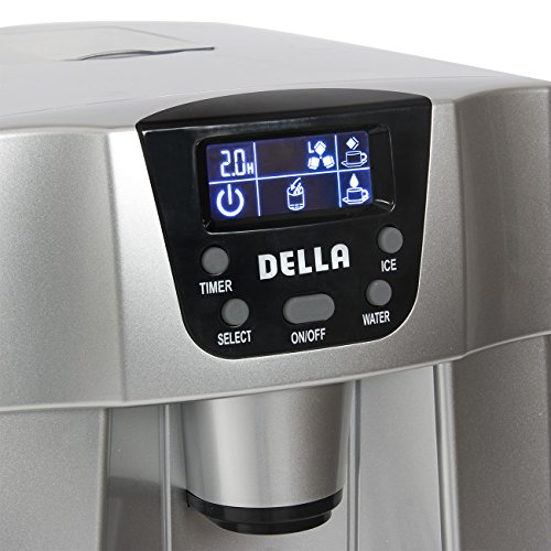 Della-Freestanding-Water-Dispenser-with-Built-In-Ice-Maker-Machine-26lbs-per-day-2-Size-Cube-White-Silver-0-2