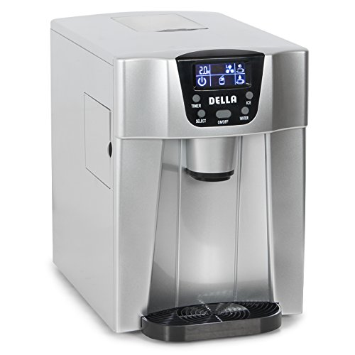 Della-Freestanding-Water-Dispenser-with-Built-In-Ice-Maker-Machine-26lbs-per-day-2-Size-Cube-White-Silver-0