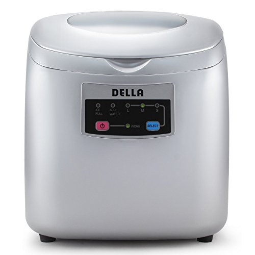Della-Portable-Ice-Maker-Easy-Touch-Buttons-Countertop-Machine-3-Selectable-Cube-Sizes-White-Silver-0-0