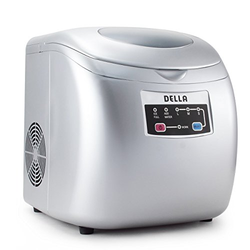 Della-Portable-Ice-Maker-Easy-Touch-Buttons-Countertop-Machine-3-Selectable-Cube-Sizes-White-Silver-0