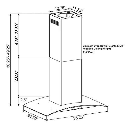 FIREBIRD-Stainless-Steel-36-Euro-Style-Island-Mount-Range-Hood-LED-Screen-0-0