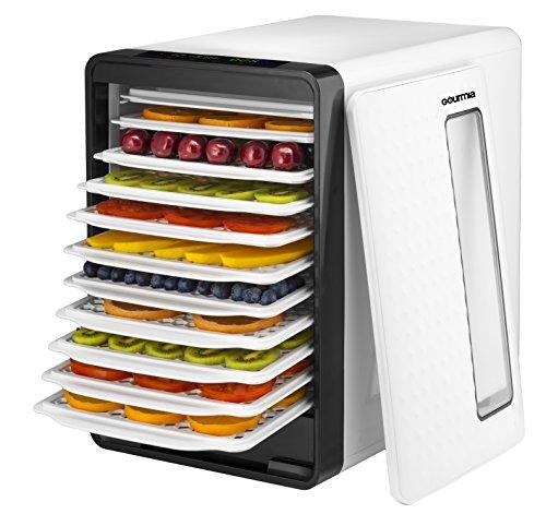 Gourmia-Food-Dehydrator-With-Touch-Digital-Temperature-Control-Ten-Drying-Trays-Plus-Beef-Jerky-Sausage-Hanging-Rack-Sleek-Design-Transparent-Window-Bonus-Cookbook-Black-0