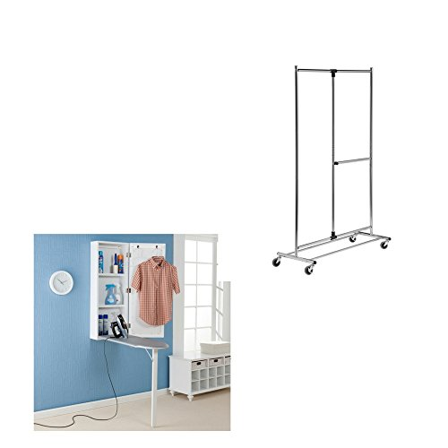 Harper-Blvd-Wall-mounted-Ironing-Board-and-Storage-Center-with-2-tier-Steel-Rolling-Garment-Rack-0