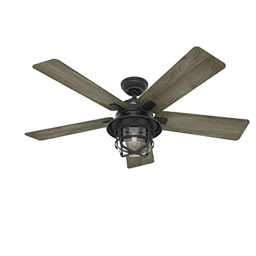Hunter-Fan-54-Weathered-Zinc-Outdoor-Ceiling-Fan-with-a-Clear-Glass-LED-Light-Kit-and-Remote-Control-5-Blade-Certified-Refurbished-0-0