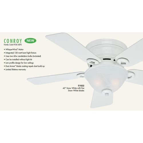 Hunter-Fan-Company-Conroy-42-Inch-Snow-White-Ceiling-Fan-with-Five-Snow-White-Blades-and-a-Light-Kit-0-0