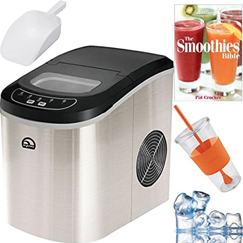 Igloo-Compact-Portable-Ice-Maker-Stainless-Steel-Plus-Smoothie-Bible-Bundle-ICE102ST-0