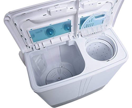 Ivation-Small-Compact-Portable-Washing-Machine–Twin-Tub-Washer-Spin-with-1212-Lb-Wash-Capacity-77-Lb-Spin-Capacity–Includes-Drainage-Pump-Tube–Ideal-for-Dorm-Rooms-RV-More-0-1