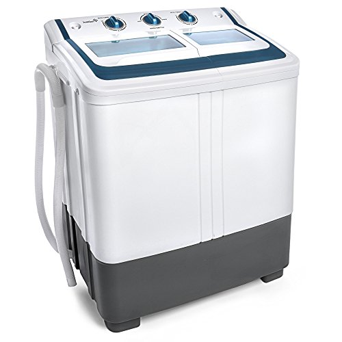 Ivation-Small-Compact-Portable-Washing-Machine–Twin-Tub-Washer-Spin-with-1212-Lb-Wash-Capacity-77-Lb-Spin-Capacity–Includes-Drainage-Pump-Tube–Ideal-for-Dorm-Rooms-RV-More-0