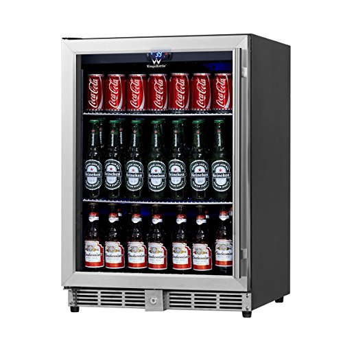 KingsBottle-160-Can-Beverage-Cooler-Stainless-Steel-with-Glass-Door-0