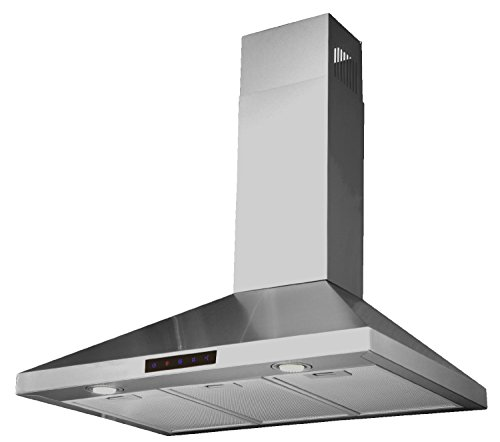 Kitchen-Bath-Collection-30-inch-Wall-mounted-Stainless-Steel-Range-Hood-with-Touch-Screen-Control-Panel-Capable-of-Vent-less-Operation-High-end-LED-Lights-Over-3x-Brighter-Than-Competing-Models-0