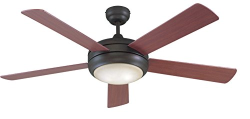 Litex-E-TIT52ABZ5LKRC-Titan-Collection-52-Inch-Ceiling-Fan-with-Remote-Control-Five-Reversible-MahoganyMaple-Blades-and-Single-Light-Kit-with-Teastain-Glass-0