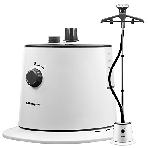 Miraguar-Fabric-SteamerStanding-Garment-Steamer-with-Fabric-Brush-and-Garment-Hanger-White-and-BlackElectric-Iron-for-Home-and-Travel-0
