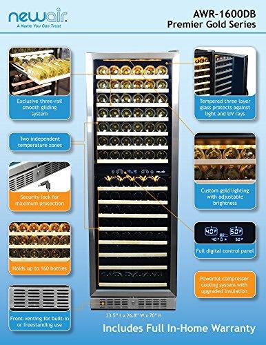 NewAir-AWR-1600DB-Premier-Gold-Series-160-Bottle-Built-In-WIne-Cooler-StaInless-SteelBlack-0-1