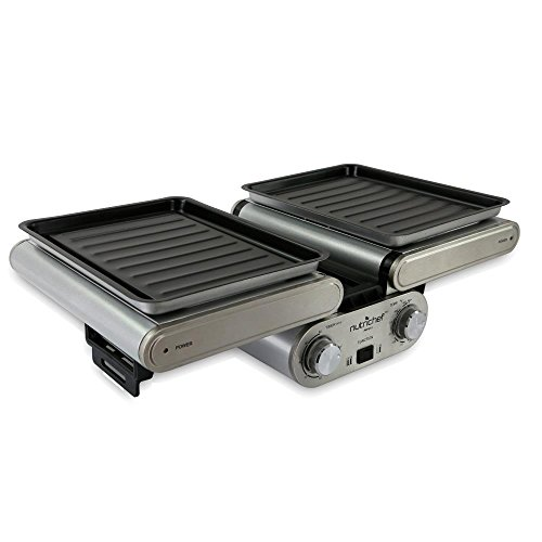 NutriChef-Cooking-Grill-Fold-Out-IndoorOutdoor-Electric-Griddle-with-Vertical-Grill-Rack-For-Fish-Steak-Skewers-Tabletop-Safe-Teflon-Tray-Drip-Pan-Rotary-Timer-Max-Temp-464F-PKFG31-0-1