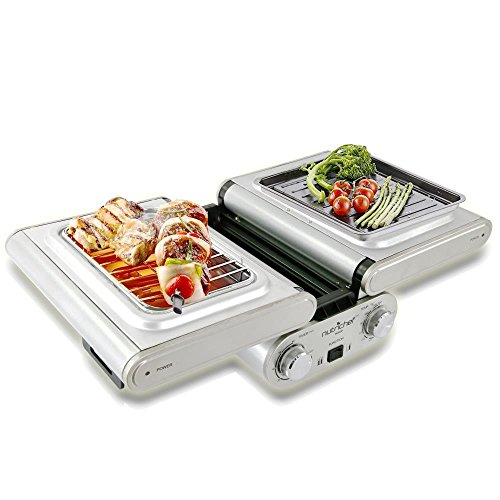 NutriChef-Cooking-Grill-Fold-Out-IndoorOutdoor-Electric-Griddle-with-Vertical-Grill-Rack-For-Fish-Steak-Skewers-Tabletop-Safe-Teflon-Tray-Drip-Pan-Rotary-Timer-Max-Temp-464F-PKFG31-0