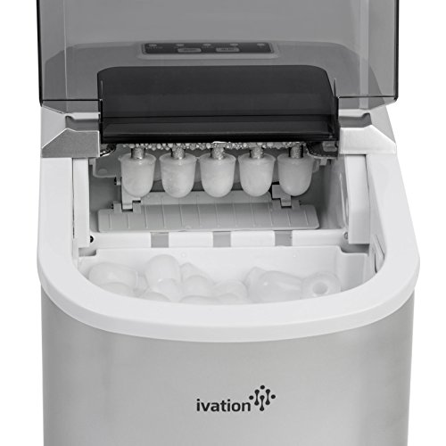Portable-Ice-Maker-for-Counterop-Sleek-Tinted-Clear-Top-Window-Design-2-Selectable-Cube-Sizes-Yield-Up-To-265-Pounds-of-Ice-Daily-0-1