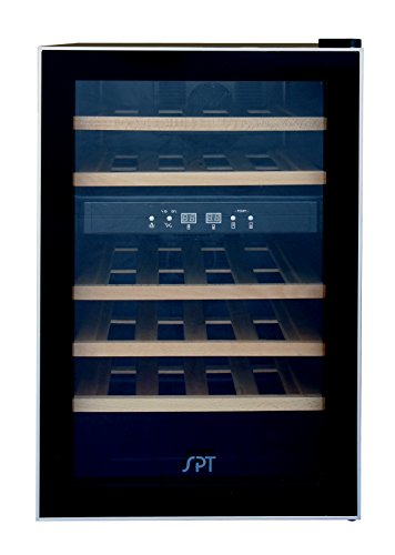 SPT-WC-2463W-Dual-Zone-Thermo-Electric-Wine-Cooler-with-Wooden-Shelves-24-Bottles-0-0