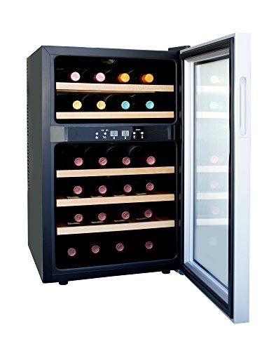 SPT-WC-2463W-Dual-Zone-Thermo-Electric-Wine-Cooler-with-Wooden-Shelves-24-Bottles-0-1