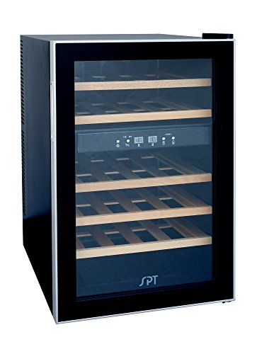 SPT-WC-2463W-Dual-Zone-Thermo-Electric-Wine-Cooler-with-Wooden-Shelves-24-Bottles-0