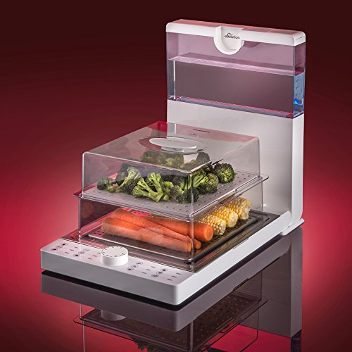 STX-Evolution-Foldable-Family-Sized-Food-Steamer-Model-STX-EV-WH-Featuring-a-Large-Capacity-18-Liter-BPA-Free-Water-Reservoir-with-Time-Matched-Water-Levels-and-Dual-Level-Stackable-Trays-0-1