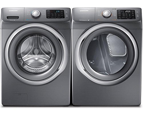 Samsung-Appliance-Stainless-Platinum-Front-Load-Laundry-Pair-with-WF42H5200AP-27-Washer-and-DV42H5200EP-27-Electric-Dryer-0