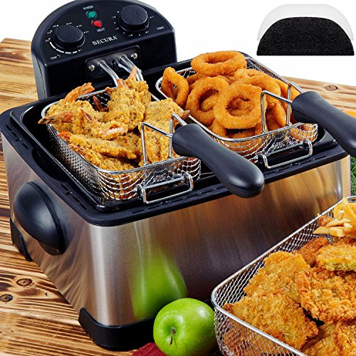Secura-1700-Watt-Stainless-Steel-Triple-Basket-Electric-Deep-Fryer-with-Timer-Free-Extra-Odor-Filter-42L17-Cup-0