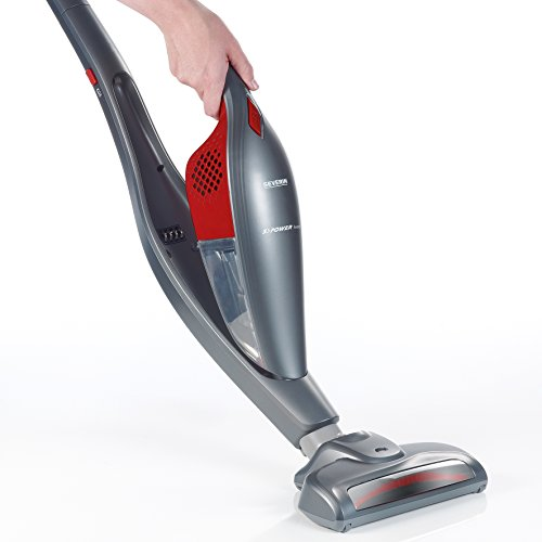 Severin-2-in-1-Cordless-Rechargeable-Upright-Stick-with-Detachable-Handheld-Vacuum-Cleaner-Includes-Brush-Crevice-Tools-RedPlatinum-Grey-0