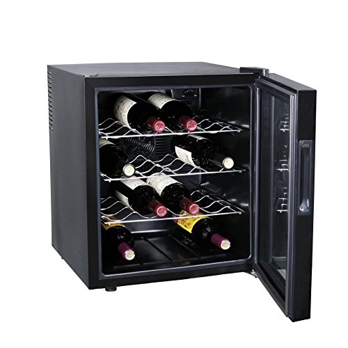 Smad-Black-Finish-Touch-Control-Panel-Freestanding-Electric-Wine-Cooler-16-Bottles-0-0