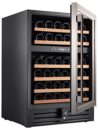 Smith-Hanks-RW145DR-46-Bottle-Dual-Zone-Under-Counter-Wine-Refrigerator-24-Inch-Width-Built-In-or-Free-Standing-0-1