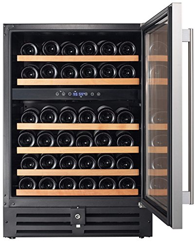 Smith-Hanks-RW145DR-46-Bottle-Dual-Zone-Under-Counter-Wine-Refrigerator-24-Inch-Width-Built-In-or-Free-Standing-0-2