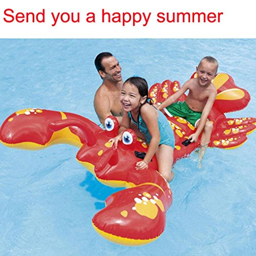 Transer-Inflatable-Lobster-Floating-Mat-Swimming-Pool-Float-Water-Raft-Swim-Ring-Lounge-Fun-Toy-213-x-137cm-0