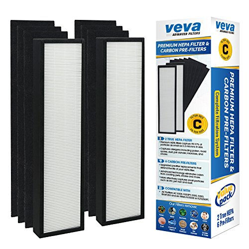 VEVA-Premium-True-HEPA-Replacement-Filter-2-Pack-Including-6-Carbon-Pre-Filters-compatible-with-Air-Purifier-AC5000-Series-and-Filter-C-0