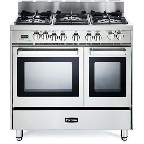 Verona-VEFSGE365NDSS-36-Pro-Style-Dual-Fuel-Range-with-5-Sealed-Burners-2-European-Convection-Ovens-Multi-Function-Programmable-Ovens-and-Storage-Drawer-Stainless-Steel-0