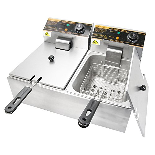 WYZworks-5000W-12-Liter-Stainless-Steel-Electric-Countertop-Dual-Deep-Fryer-Home-Restaurant-Commercial-0