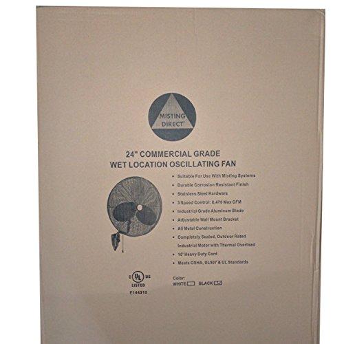 Wet-Location-Fan-w-Designer-Wall-Mount-24-Precision-Aluminum-Blades-Oscillating-3-Speeds-Commercial-Grade-IndoorOutdoor-by-Misting-Direct-0-0