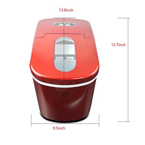 Yongtong-Ice-Maker-Counter-Top-Ice-Machine-Automatic-Portable-Icemaker-Producing-26Lbs12Kg-per-Day-2-Selectable-Cube-Sizes-with-Easy-Touch-Buttons-Stainless-Steel-22L23QT-Capacity-Red-0-0